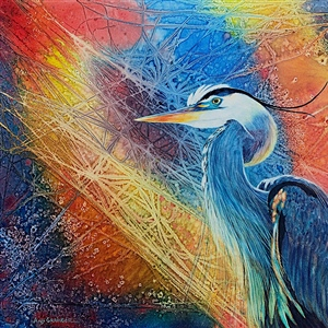 "Angela Grainger ""Blue Heron in the Morning Light II"" 1st Place – Waterworks Unchained 2020"